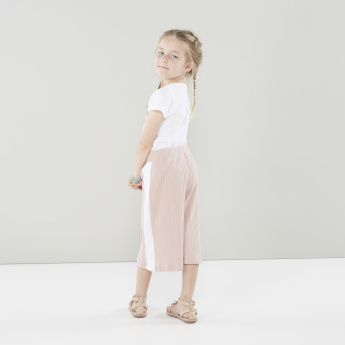 Juniors Ribbed Pants with Contrast Panel