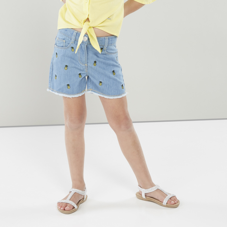 Juniors Embroidered Cotton Shorts