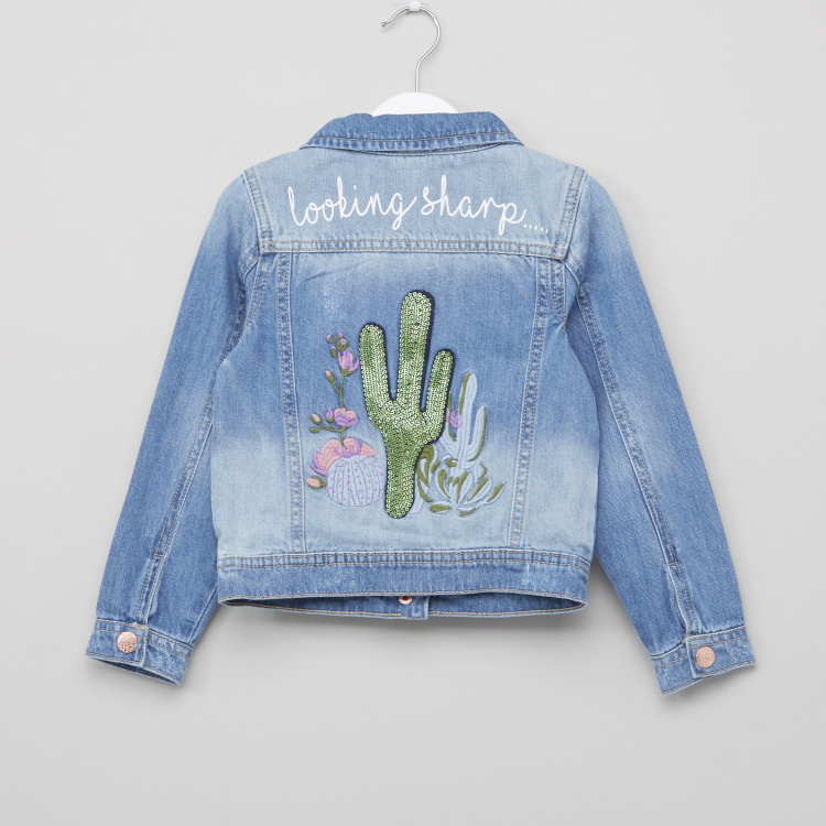Juniors Embroidered Sequin Detail Jacket