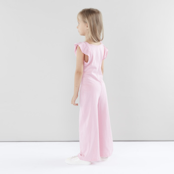 Juniors Jumpsuit with Ruffled Sleeves and Button Closure