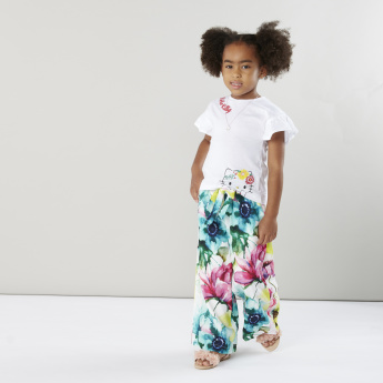 Juniors Floral Printed Palazzo Pants with Pocket Detail and Tie Ups