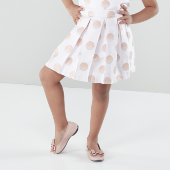 Juniors Printed Skirt with Pleats