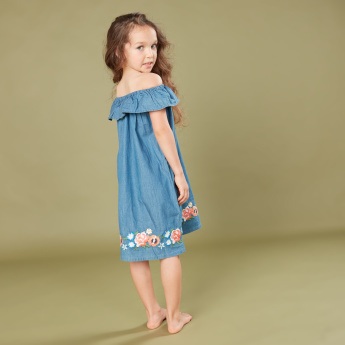 Juniors Floral Embroidered Off Shoulder Dress