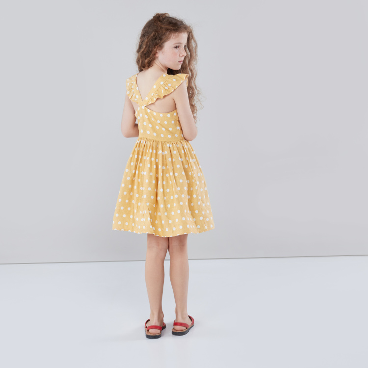 Eligo Polka Dot Printed Sleeveless Dress with Bow Applique