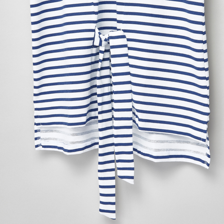 Posh Striped Flared Sleeves Tie Up Detail Top