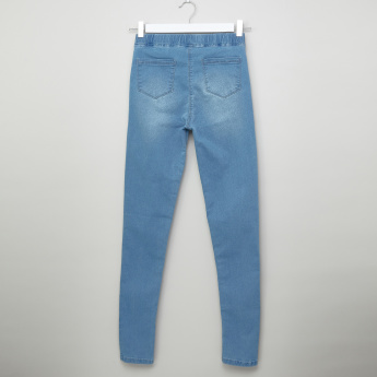 Posh Denim Pants with Pocket Detail and Elasticised Wiastband