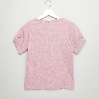 Posh Textured T-shirt with Short Sleeves and Round Neck