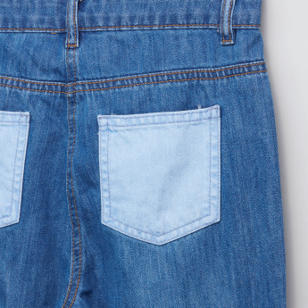 Posh Pocket Detail Jeans with Contrasting Cuffs