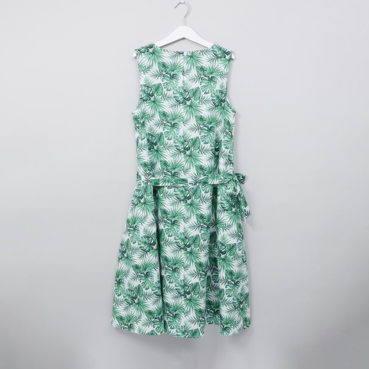Posh Tropical Printed Sleeveless Dress with Tie Up Belt