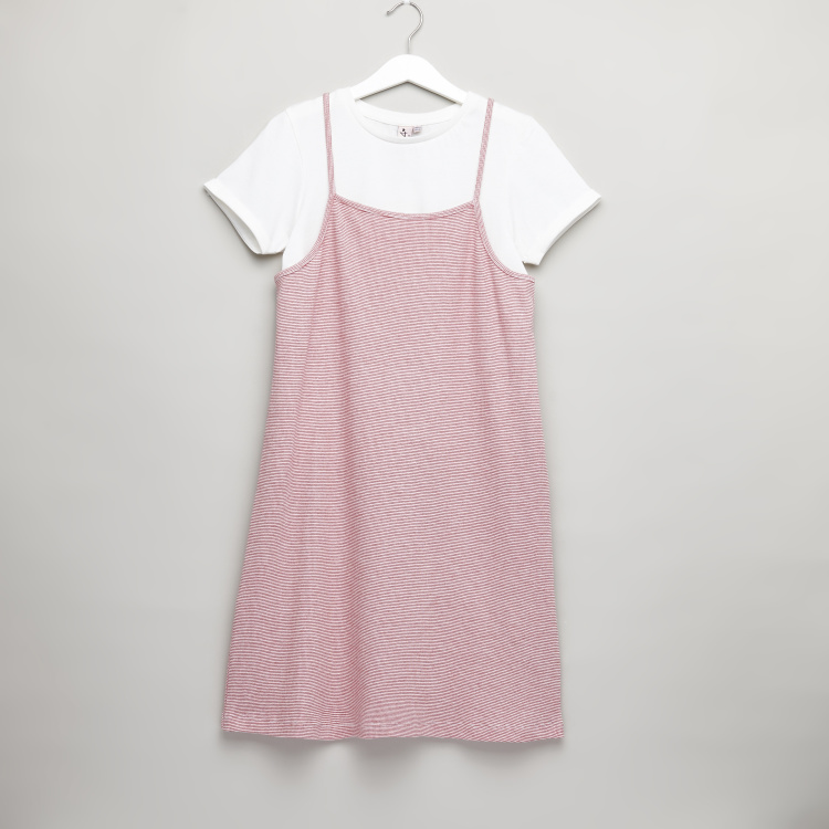 Posh Round Neck T-shirt with Striped Dress
