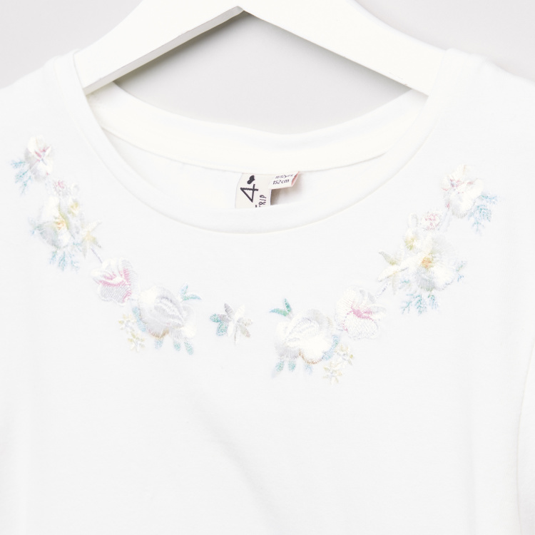 Posh Embroidered Round Neck T-shirt