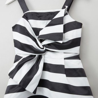 Posh Striped Knot Detail Dress