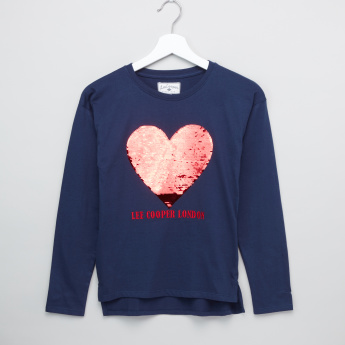 Lee Cooper Sequin Detail Round Neck Long Sleeves T-Shirt