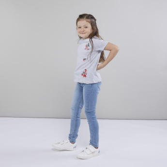 Lee Cooper Embroidered T-shirt with Short Sleeves
