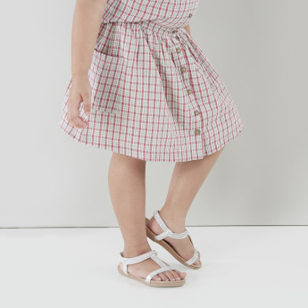 Lee Cooper Chequered Skirt with Button Closure and Pocket Detail