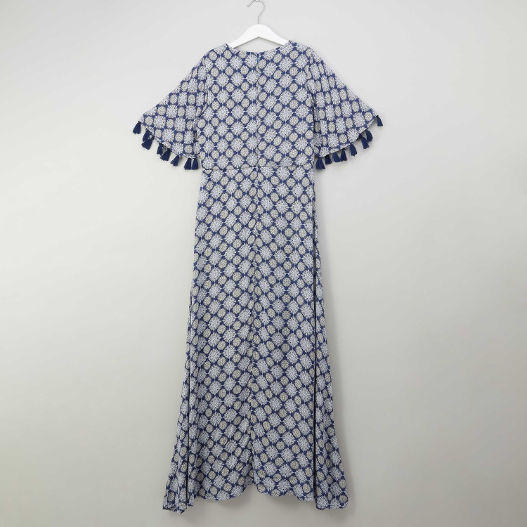 Lee Cooper Printed Maxi Dress with Butterfly Sleeves