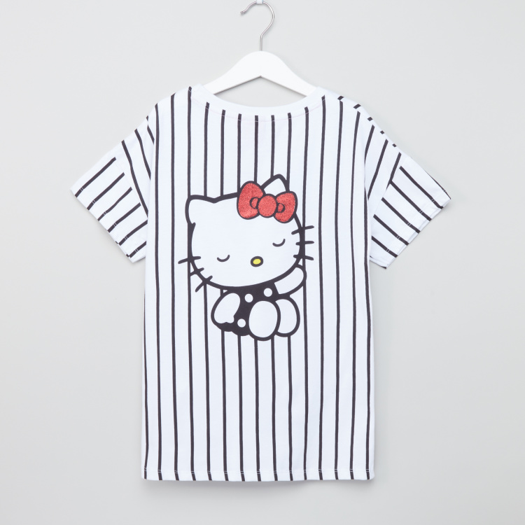 Hello Kitty Striped Short Sleeves T-Shirt