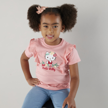 Sanrio Hello Kitty Graphic Print Shirt with Ruffles