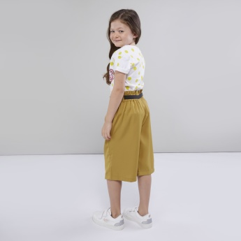 Sanrio Solid Culottes with Waist Tie-Up