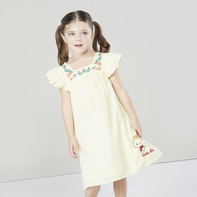 Hello Kitty Embroidered Dress with Square Neck and Frill Sleeves