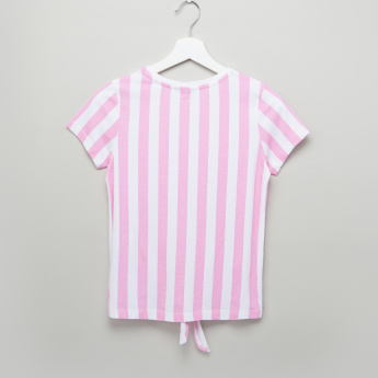 Barbie Striped Tie Up Detail Top