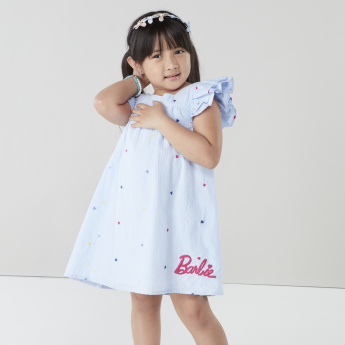 Barbie Printed Dress with Ruffle Sleeves