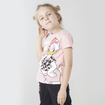Daisy Duck Graphic Print Round Neck T-shirt
