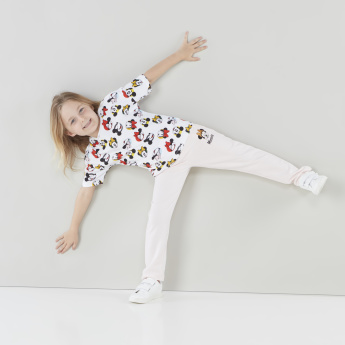 Minnie Mouse Printed Jog Pants with Pocket Detail and Drawstring