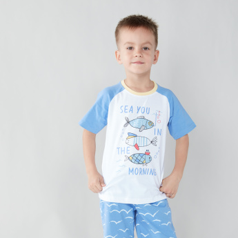 Juniors Printed T-shirt with Shorts - Set of 2