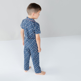 Juniors Printed Short Sleeves Shirt and Pyjama Set