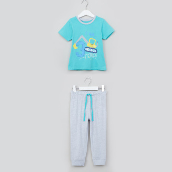 Juniors I am 3 Printed Short Sleeves T-shirt with Melange Cuff Pants