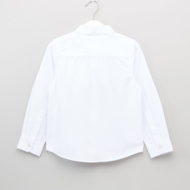 Juniors Plain Shirt with Long Sleeves and Complete Placket