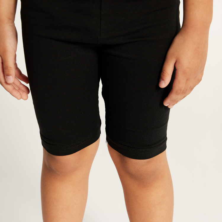 Juniors Solid Knee Length Shorts with Elasticised Waistband