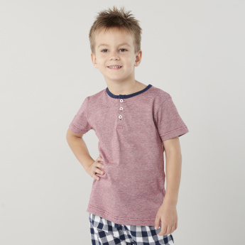 Juniors Henley Neck T-shirt and Chequered Pyjama Set