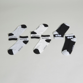 Batman Printed Ankle Length Socks - Set of 3