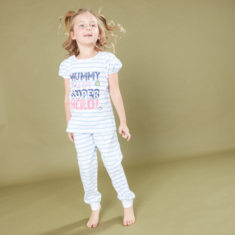 Juniors Printed T-Shirt with Jog Pants - Set of 2