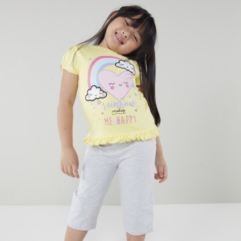 Juniors Printed Frill Detail Top with Capris