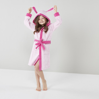 Juniors Textured Hooded Bathrobe with Tie Ups and Ear Applique Detail