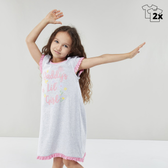Set of 2 - Juniors Printed Round Neck Sleep Dress
