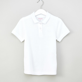 Juniors Polo Neck T-shirt with Ruffle Details