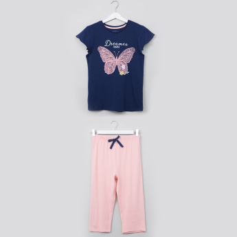 Juniors Butterfly Print Capri Set