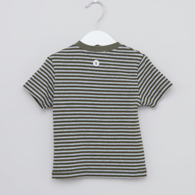 Juniors Camou Hype Striped T-shirt with Round Neck and Short Sleeves