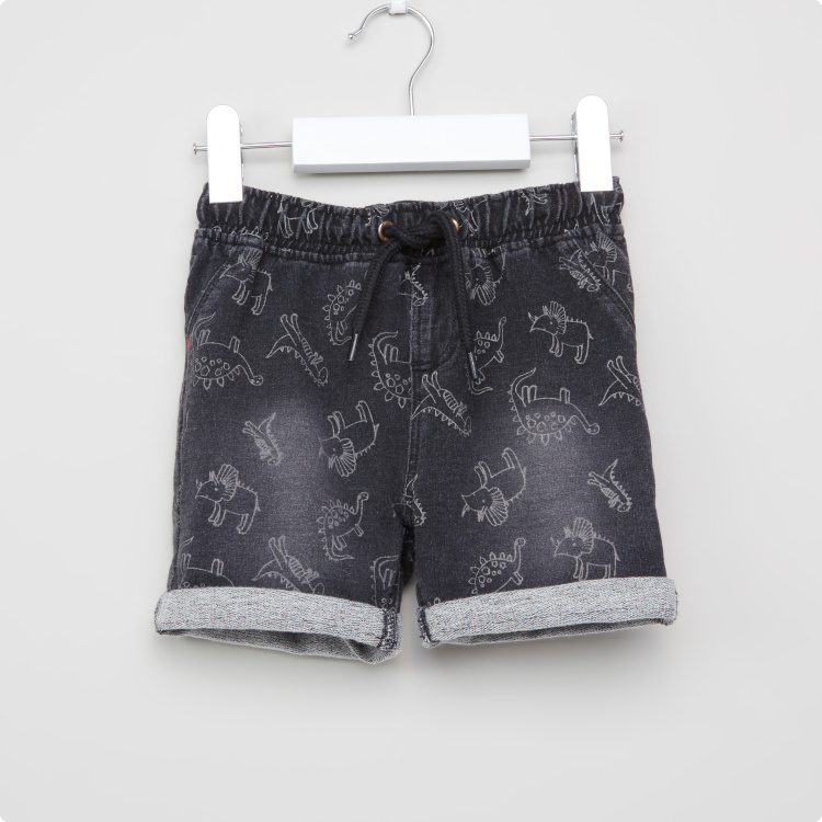 Juniors Dinosaur Printed Shorts with Drawstring