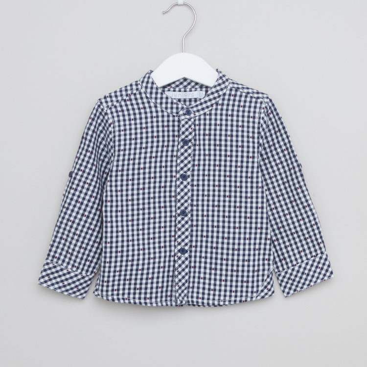 Juniors Chequered Shirt with Mandarin Collar and Long Sleeves