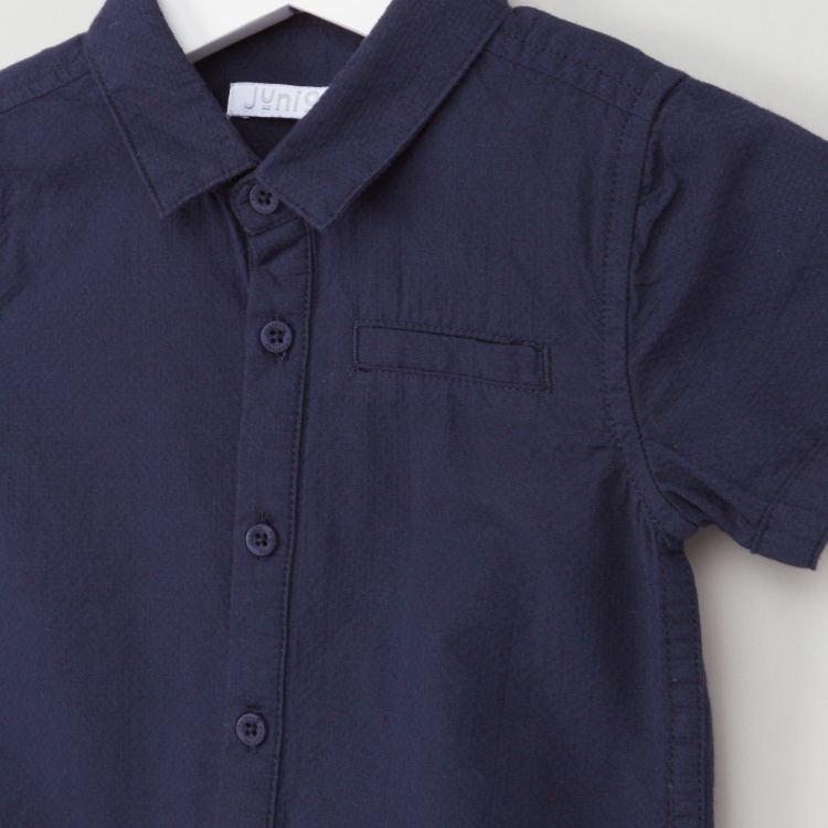 Juniors Plain Button Through Shirt with Short Sleeves and Patch Pocket
