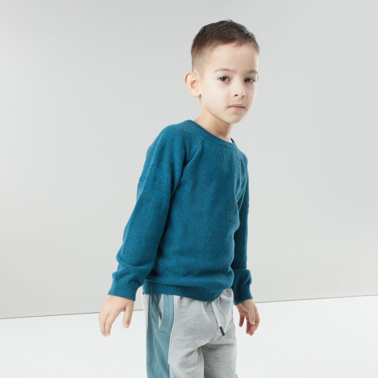 Juniors Core Plain Sweater with Round Neck and Long Sleeves