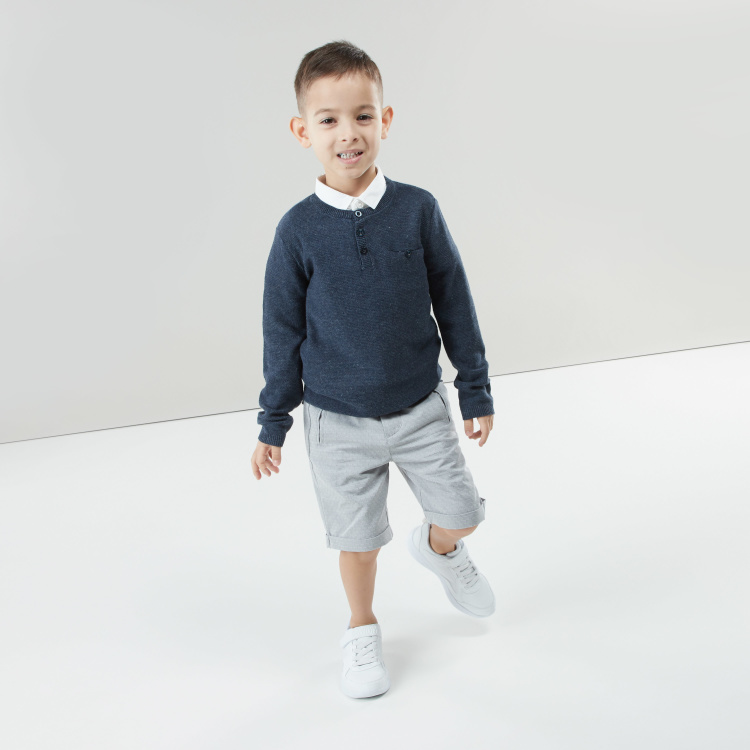 Juniors Textured Sweater with Henley Neck and Long Sleeves