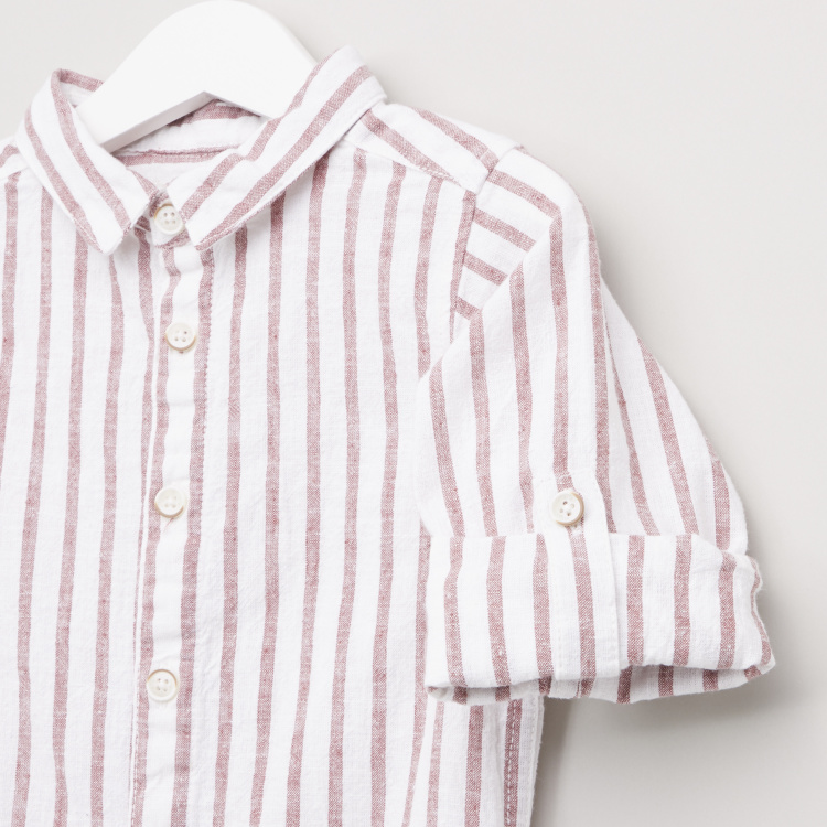 Eligo Striped Button Through Shirt with Long Sleeves