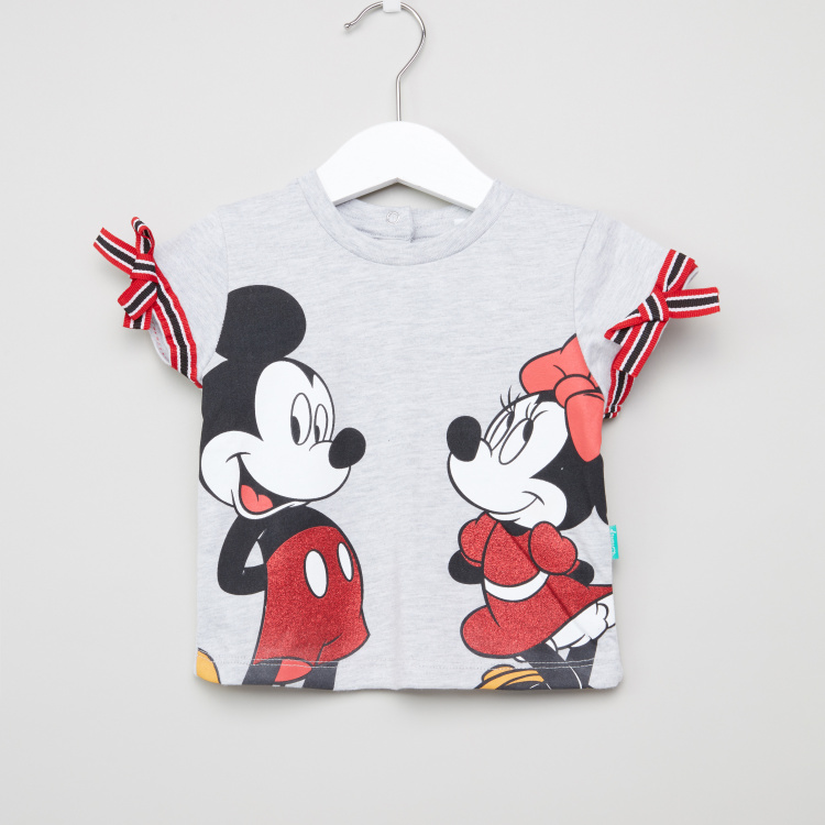 Mickey Mouse Printed T-shirt with Cap Sleeves and Bow Applique