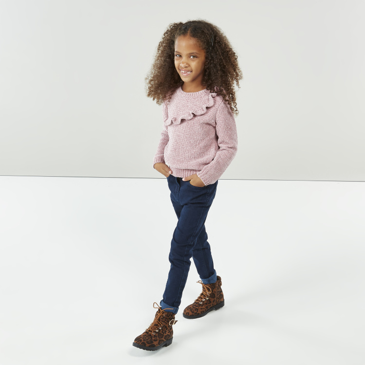 Juniors Textured Sweater with Long Sleeves and Ruffle Detail